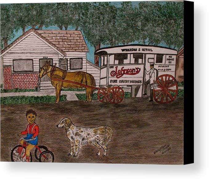 Johnson Creamery Canvas Print featuring the painting Johnsons Milk Wagon Pulled By A Horse by Kathy Marrs Chandler