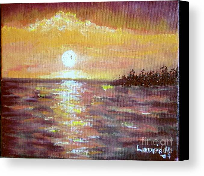 Sunset Canvas Print featuring the painting Kona Sunset by Laurie Morgan