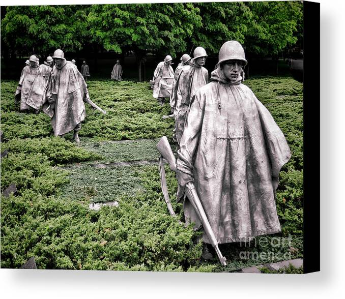 Washington Canvas Print featuring the photograph Korean War Veterans Memorial by Olivier Le Queinec