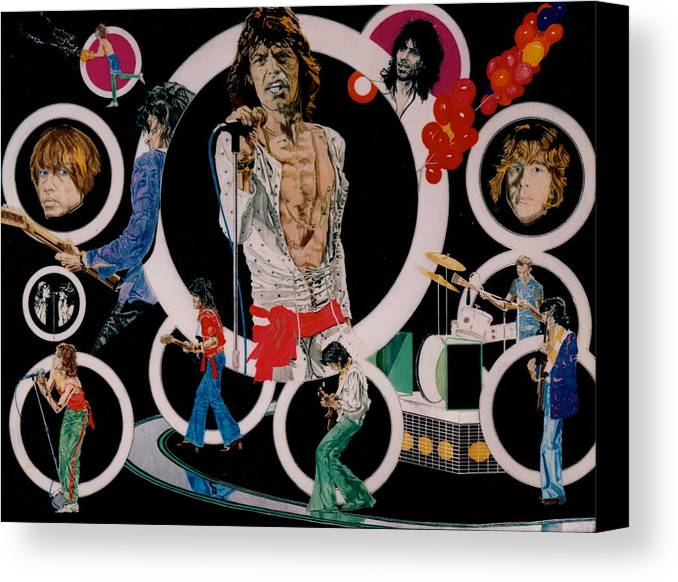 Mick Jagger;keith Richards;brian Jones;charlie Watts;bill Wyman;rock & Roll;music;guitars;water Canvas Print featuring the drawing Ladies And Gentlemen -the Rolling Stones by Sean Connolly