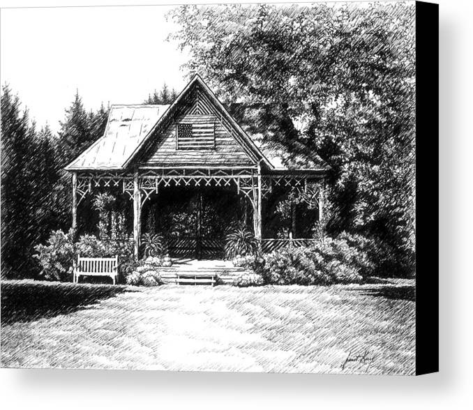 Pen And Ink Drawing Canvas Print featuring the drawing Lawn Chair Theater In Leiper's Fork by Janet King