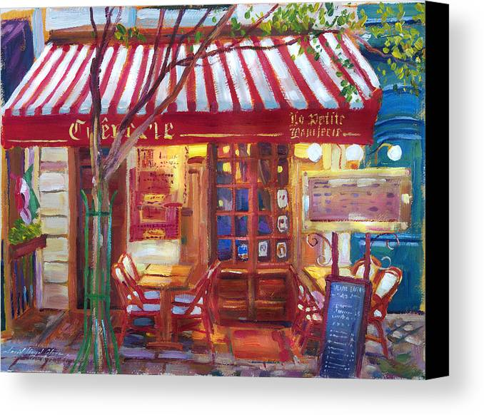 Streetscape Canvas Print featuring the painting Le Petite Bistro by David Lloyd Glover
