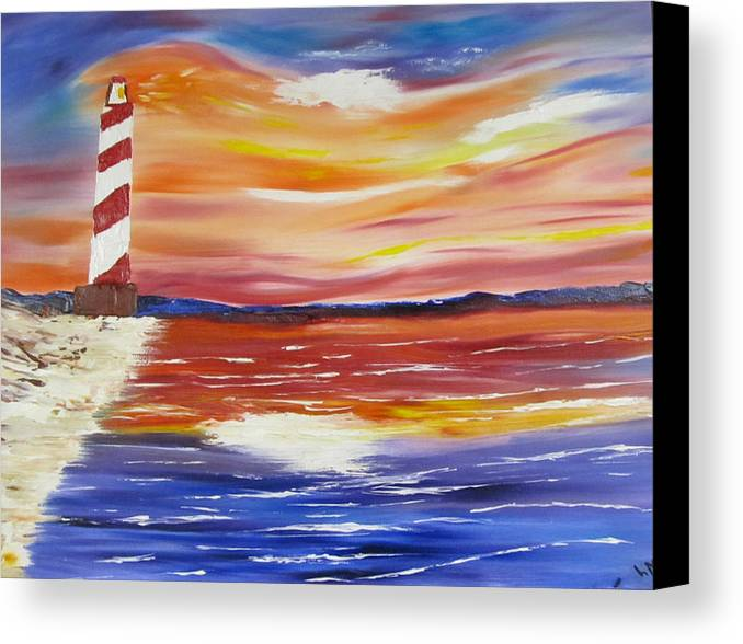 Seascape Canvas Print featuring the painting Lighthouse Sunset by Larry Marano