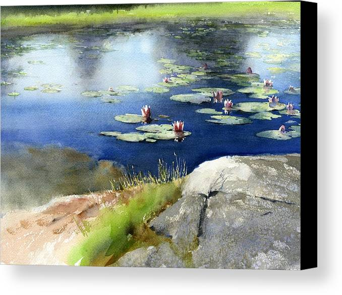 Landscape Canvas Print featuring the painting Lilies Pond by Vladimir Tuporshin