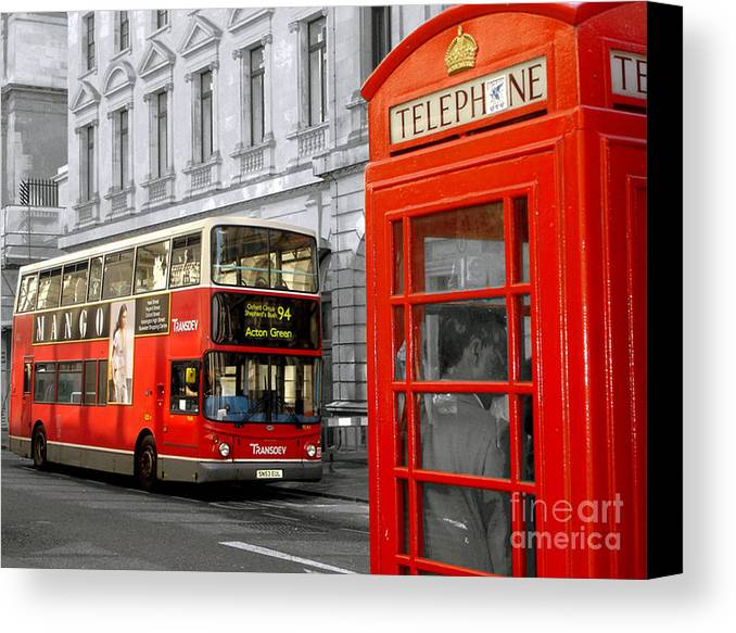 Red Canvas Print featuring the photograph London With A Touch Of Colour by Nina Ficur Feenan