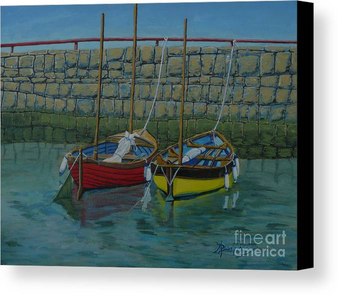 Rock Canvas Print featuring the painting Low Tide by Anthony Dunphy