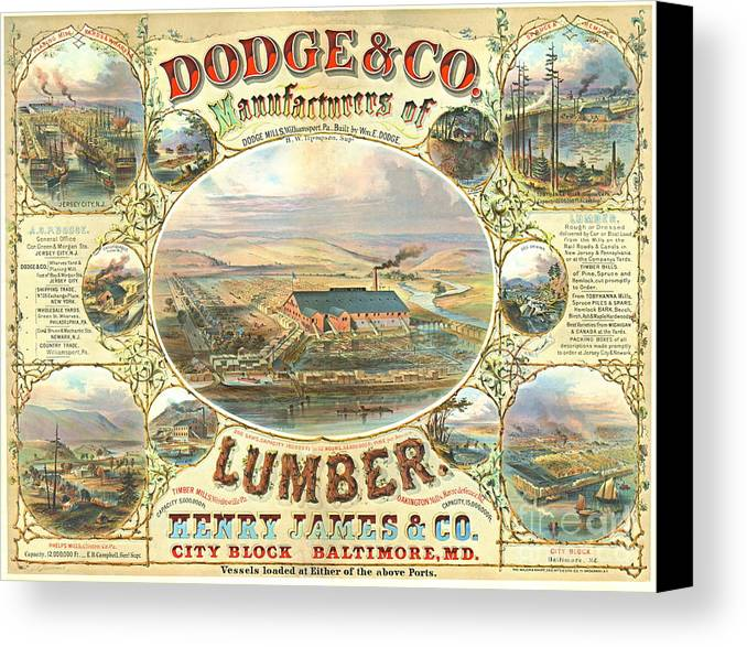 Lumber Company Advertisement 1880 Canvas Print featuring the photograph Lumber Company Ad 1880 by Padre Art