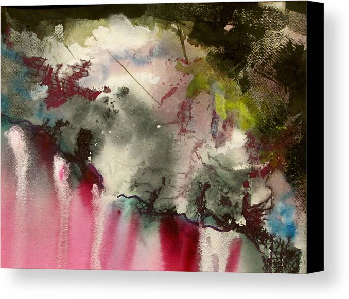 This Piece Of Work Was Inspired By Travel To The Inner Worlds Where Color Is Very Intense. These Worlds Can Often Be Seen Just Before You Drop Off To Sleep. Canvas Print featuring the painting Magenta Cliffs by Carole Johnson