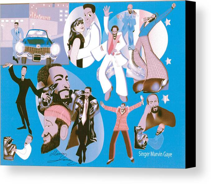 Marvin Gaye Canvas Print featuring the digital art Marvin Gaye Timeline Portrait by Marvin James