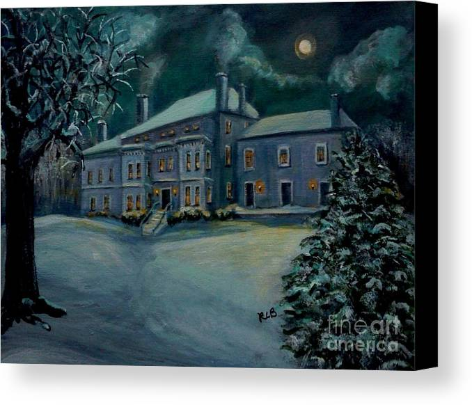Lyman Canvas Print featuring the painting Midnight At The Lyman Estate by Rita Brown