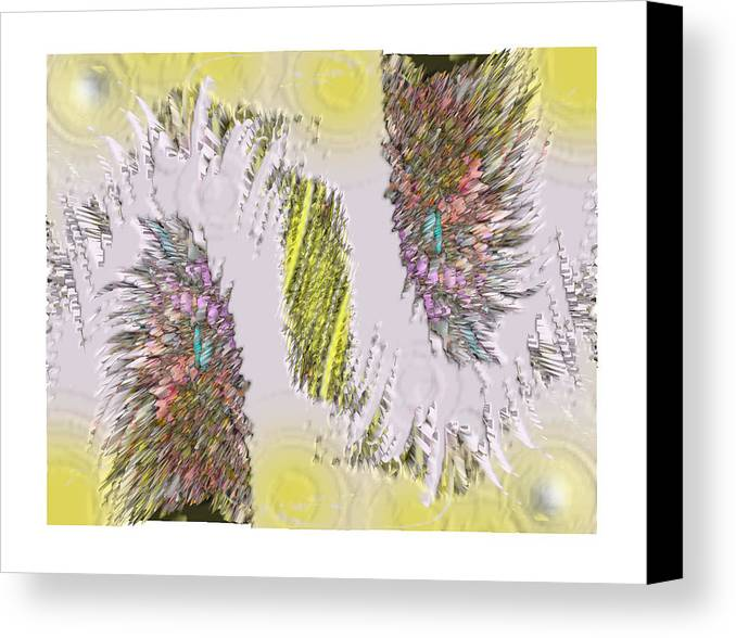 Moon Canvas Print featuring the digital art Moon Flowers by Elisabet Bondesson