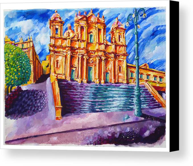 Noto Cathedral Canvas Print featuring the painting Noto Cathedral Sicily by Patrick O'Callaghan