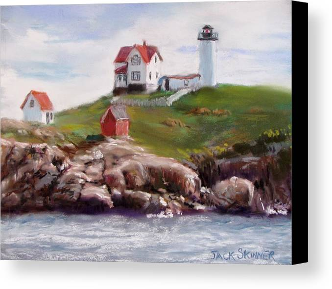 Lighthouse Canvas Print featuring the painting Nubble Lighthouse In Pastel by Jack Skinner