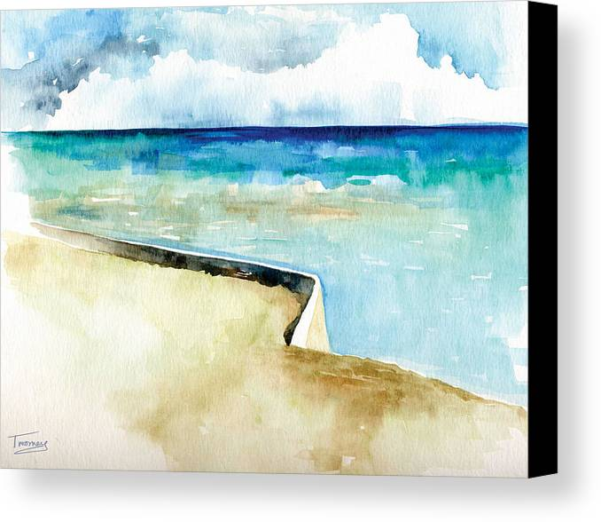 Turquoise Canvas Print featuring the painting Ocean Pier In Key West Florida by Catherine Twomey