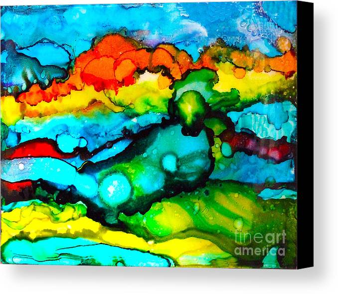 Canvas Print featuring the painting Ocean Tempest Tile by Alene Sirott-Cope