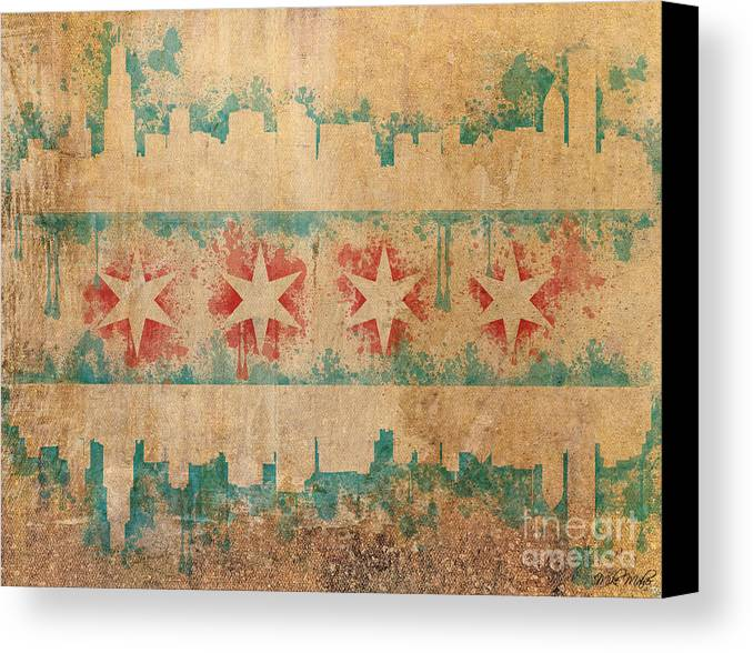 Chicago Canvas Print featuring the digital art Old World Chicago Flag by Mike Maher