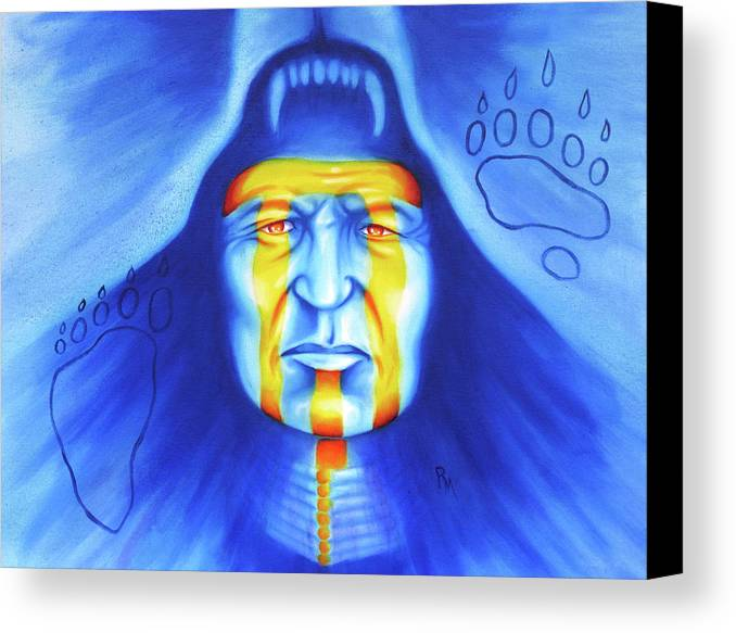 Native American Art Canvas Print featuring the painting Painted Bear by Robert Martinez