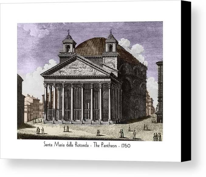 Pantheon Canvas Print featuring the digital art Pantheon Santa Maria Della Rotonda by John Madison