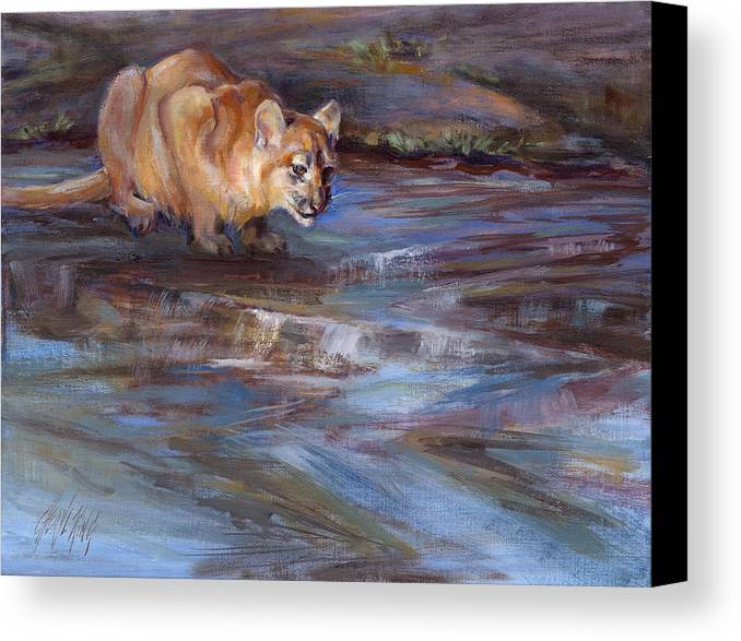 Cougar Canvas Print featuring the painting Pause by Cheryl King