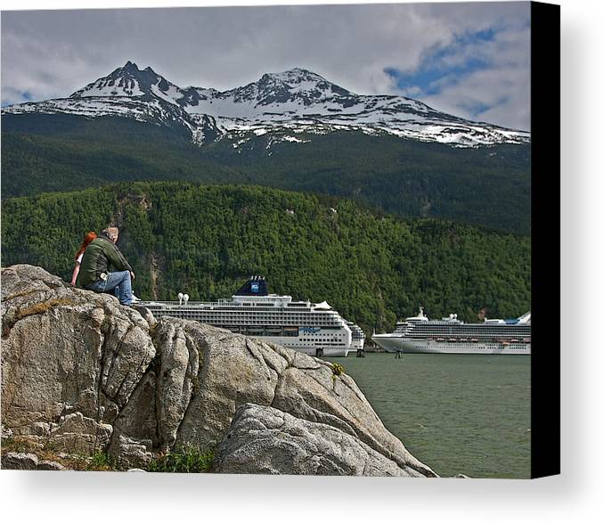 Cruise Canvas Print featuring the photograph Pause In Wonder At Cruise Ships In Alaska by John Haldane