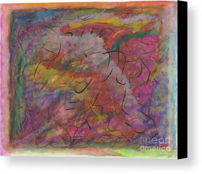 Abstract Canvas Print featuring the painting Rainbow Skies by Myrtle Joy