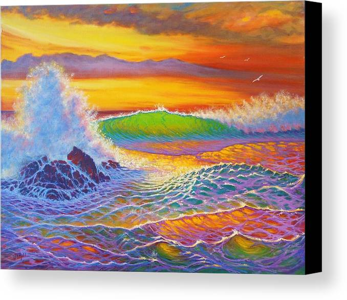 Seascape Sunset Rainbow Colors Surf Crashing Sea Ocean Coast Line Patterns Transparency Reflections Sky Colors Canvas Print featuring the painting Rainbow Sunset II by Joseph  Ruff