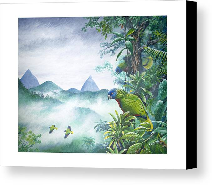 Chris Cox Canvas Print featuring the painting Rainforest Realm - St. Lucia Parrots by Christopher Cox