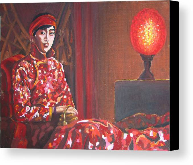 Chinese Canvas Print featuring the pastel Raise The Red Lantern by Karen Coggeshall
