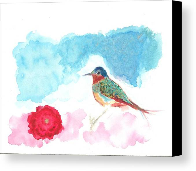 Birdie Canvas Print featuring the painting Red Rose by Lori Sheridan