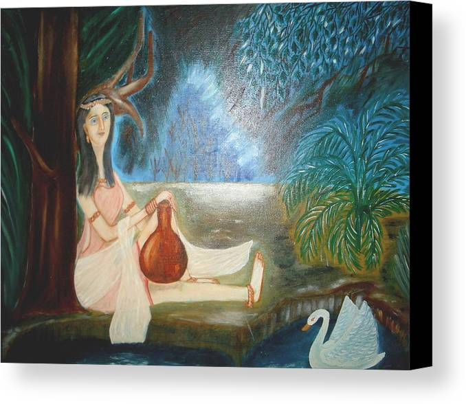 A Girl Holding A Pot In Her Hand Looking At The Swam In The Pond. Canvas Print featuring the painting Rising Desire by Minakshi Sanyal Chakraborty