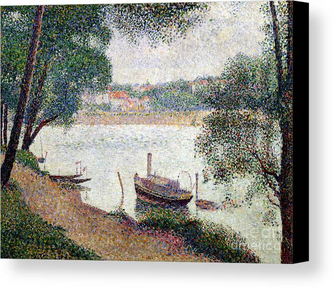 Seurat Canvas Print featuring the painting River Landscape With A Boat by Georges Pierre Seurat
