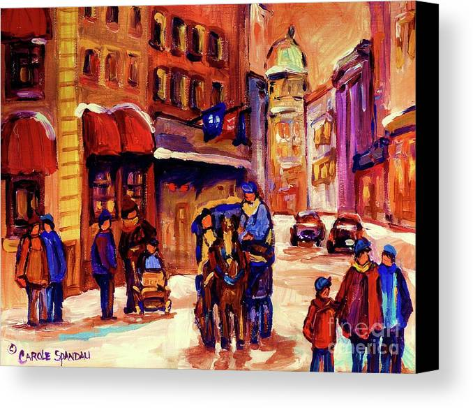 Montreal Canvas Print featuring the painting Rue St. Paul Old Montreal Streetscene In Winter by Carole Spandau