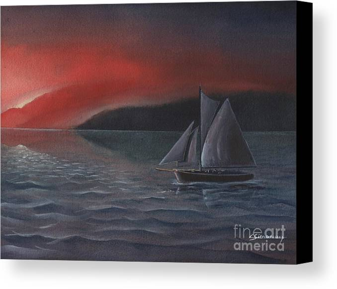 Silboat Canvas Print featuring the painting Sailboat In Sunset by Christian Simonian