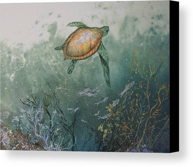 Gyotaku Canvas Print featuring the mixed media Sea Turtle by Nancy Gorr