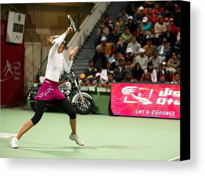 Maria Canvas Print featuring the photograph Sharapova At Qatar Open by Paul Cowan