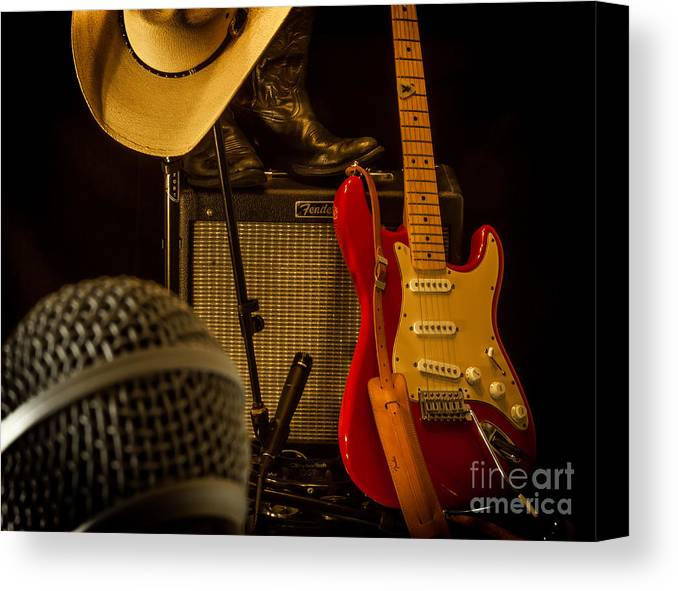 Guitar Canvas Print featuring the photograph Show's Over by Robert Frederick