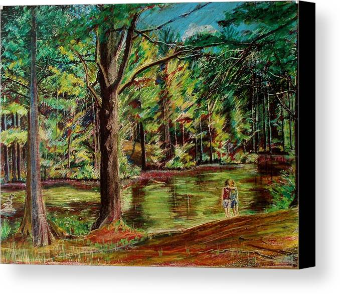 New Hampshire Canvas Print featuring the pastel Sisters At Wason Pond by Sean Connolly