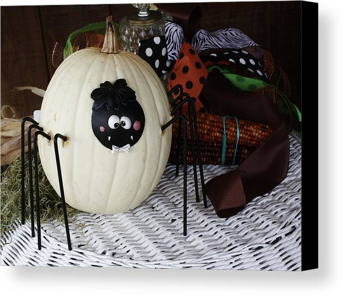Fall Canvas Print featuring the photograph Spider Pumpkin by Paulette Thomas