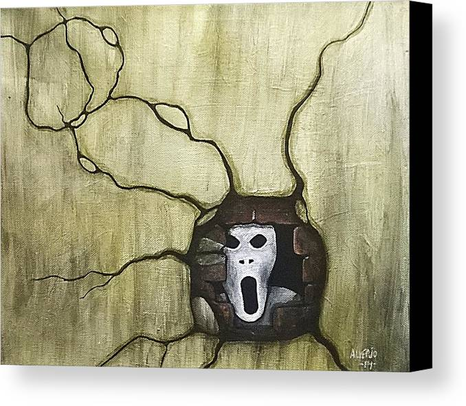 Spooky Canvas Print featuring the painting Spooky by Edwin Alverio