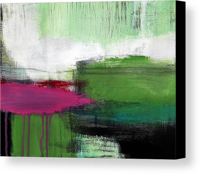 Green Abstract Painting Canvas Print featuring the painting Spring Became Summer- Abstract Painting by Linda Woods