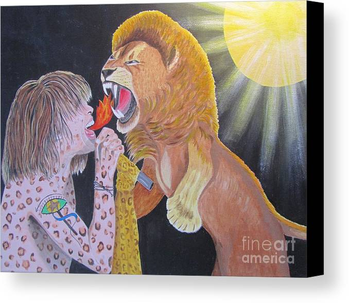 Steven Tyler Canvas Print featuring the painting Steven Tyler Versus Lion by Jeepee Aero