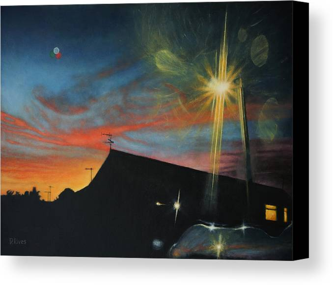 Surreal Canvas Print featuring the painting Suburban Sunset Oil On Canvas by David Rives