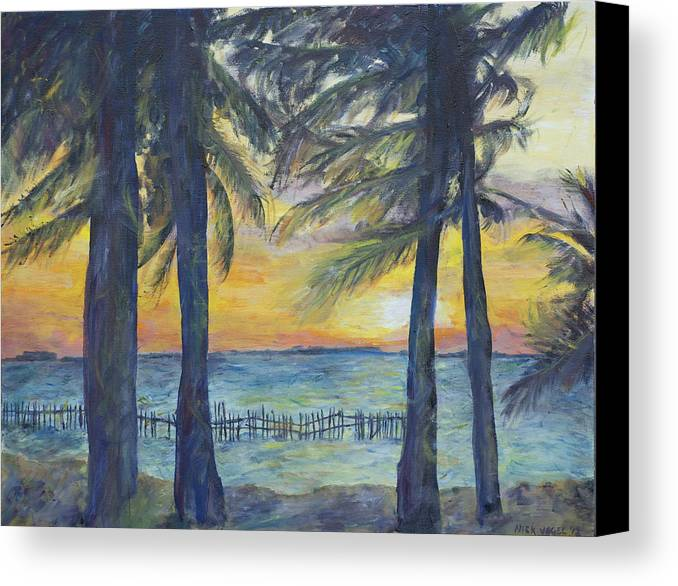 Palm Canvas Print featuring the painting Sunset At Buho's by Nick Vogel