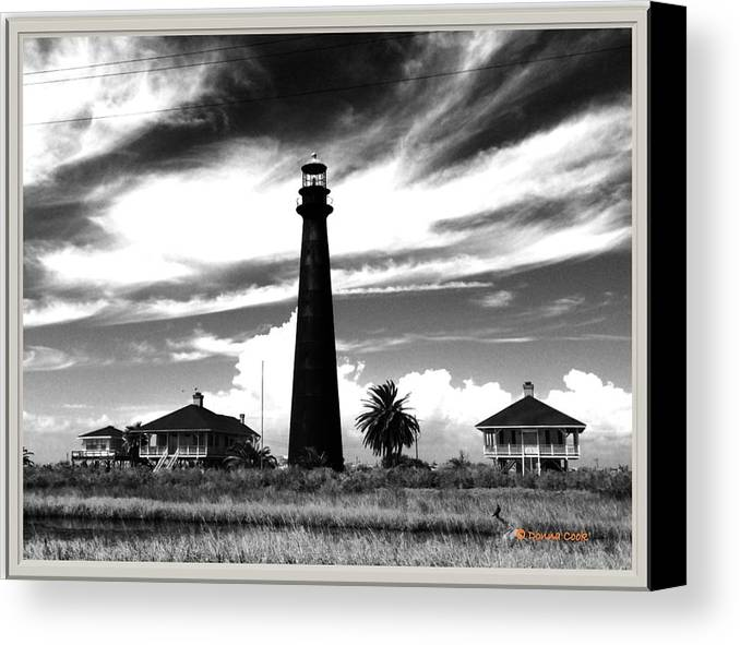 Bolivar Lighthouse With The Most Amazing Sky. Canvas Print featuring the photograph Texas Lighthouse by Donna Cook