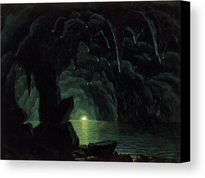 The Blue Grotto Canvas Print featuring the painting The Blue Grotto by Albert Bierstadt