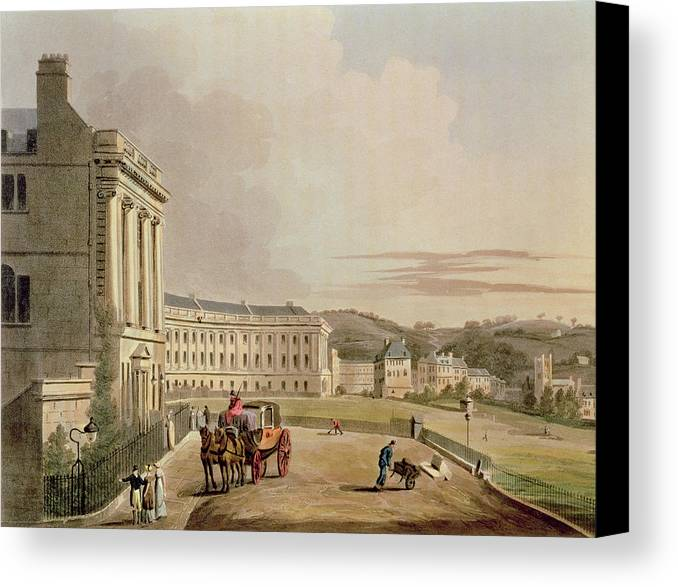 Architecture Canvas Print featuring the drawing The Crescent, Detail Of The Street by John Claude Nattes