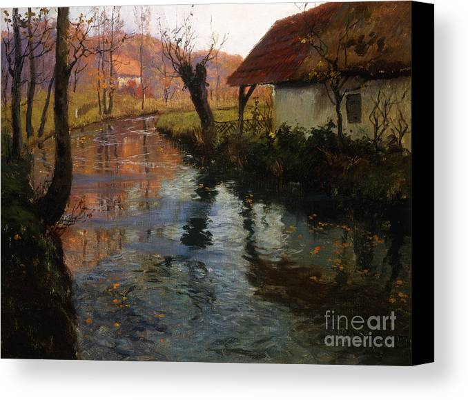 Mill; Stream; River; House; Thatched; Cottage; Bend; Reflection; Reflections; Ripple; Ripples; Water; Autumn; Autumnal; Dusk; Evening; Sunset; Atmospheric; Idyllic; Rural; Countryside; Fall Canvas Print featuring the painting The Mill Stream by Fritz Thaulow