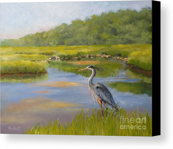 Blue Heron Canvas Print featuring the painting The Millway Marsh by Karol Wyckoff