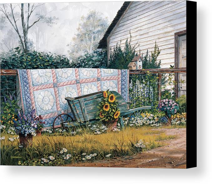 Michael Humphries Canvas Print featuring the painting The Old Quilt by Michael Humphries