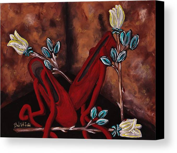 The Red Shoes Canvas Print featuring the painting The Red Shoes by Barbara St Jean